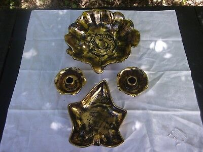 Vintage 4 Piece Set Of Stangl Bowl, Candy Dish And Candle Sticks ~ Black & Gold