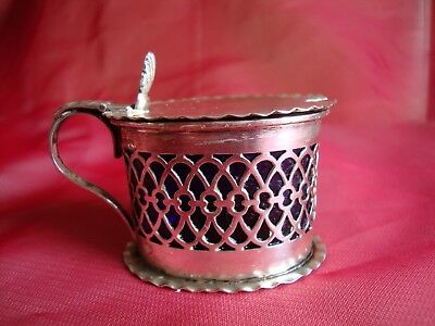 Birmingham Silver William Devenport 1899 'Drum' salt / mustard pot & liner