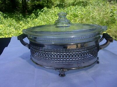 Vintage Pyrex Lidded Casserole Dish With Silver Plate Footed Stand