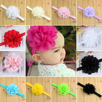 Baby Girls Infant Flowers Elastic Hairband Head Band Chiffon Headdress Birthday