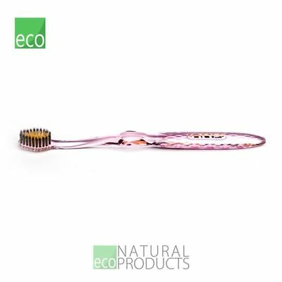 Nano-b Natural Charcoal & Gold Toothbrush Pink Handle