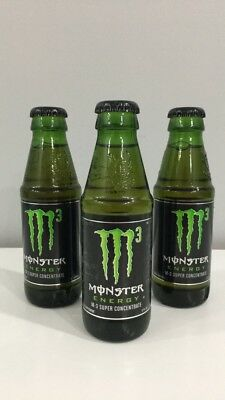 Lot of 3 Monster Energy M3 - 5oz. Glass bottle Discontinued & Rare - WITH EXTRAS