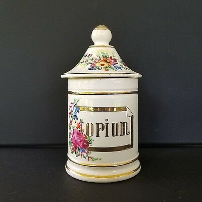Porcelain apothecary pharmacy jar Opium