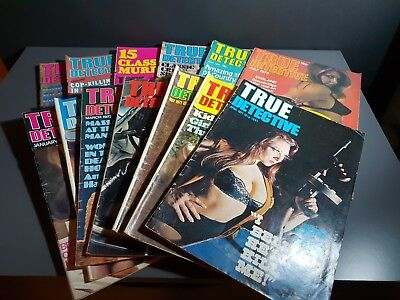 Bundle of Early 1970's True Detective Magazines - 13 pieces