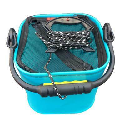 CM EVA Water Bucket with Rope Collapsible Bucket for Camping/Fishing (Blue) A3G4