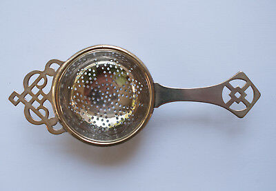 Antique English Tea Strainer Silver Plate EJ Made in England