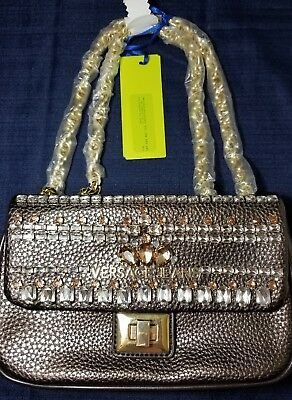 bdf3b57180 Authentic Versace Jeans Purse Brown Embellished Goldtone Chain Auth.Cert Nwt