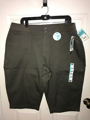 84504348aa1e LEE Women s Plus Size 20W Green Relaxed Fit Knit Waist Skimmer Capri Pant
