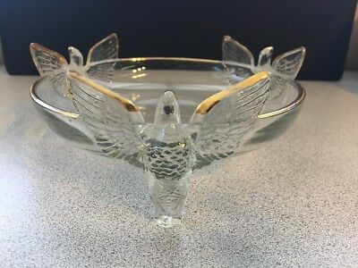 "Glass Eagle VINTAGE  ROUND 7 "" CANDY DISH  BOWL GOLD TRIM Statue Figurine"