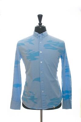 15994813f11 Slvdr by Steven Alan Blue Camouflage Oxford Cloth Button Down Shirt Large  8349