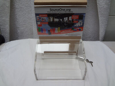 SourceOne Donation Box with Lock - 5-Inch Wide Acrylic Storage Container  NIB