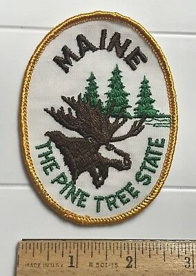 Maine The Pine Tree State ME Moose Elk Head Embroidered Souvenir Patch