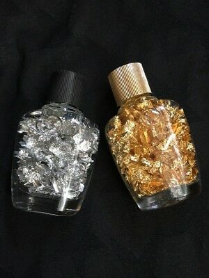 Real Gold And Silver Flakes Floating In Bottles 2 Inches Set Of Two