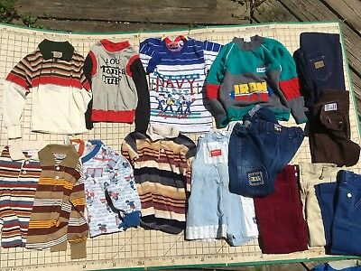 Lot 16 Vintage Boys Outfit Shirt Pants Size 5 Levis Tonka Health-tex Sweatshirt