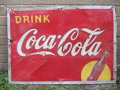 Vintage COCA COLA Soda Drink Silhouette Bottle Gas Station Sign Raised Letters