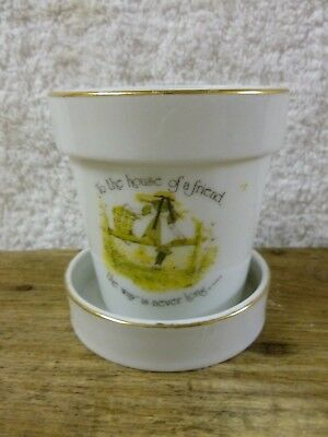 """Vtg Holly Hobbie Mini Flower Pot and Saucer """"to the house of a friend (1975)*EC"""