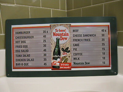 "MOUNTAIN DEW Textured Metal Vintage Diner Menu Sign 8.5x16"" Ya-hooo!"