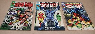 Marvel Silver Age The Invincible Iron Man #6, 12, 14 Comic Book Lot Vintage!
