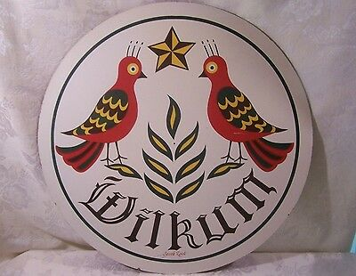 """Vintage 15 3/4"""" Jacob Zook Pa. Dutch Wilkum Welcome Sign Goldfinches & Wheat"""