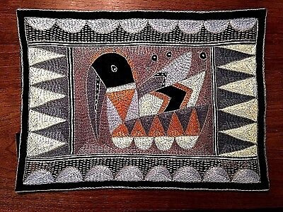 Handmade Wall Art Tapestry S. Africa Bird Geometric Gray Brown Black Mid Century