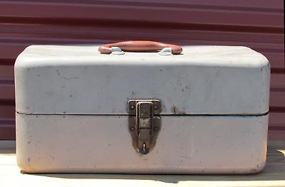 Vintage Union Metal Fishing Tackle Box & Contents Full of Lures,Spoons,Bobbers +