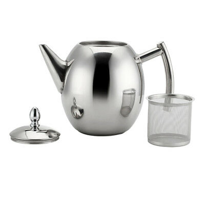 1L 2L Stainless Steel Coffee Teapot Kettle with Tea Leaf Mesh Filter Infuser