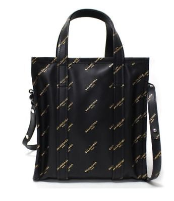fd92eb185f26 BALENCIAGA Black Gold Leather Bazar Shopper Shoulder Hand Tote Bag XS Never  Used