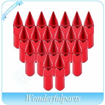 20PCS 12X1.5 Cap Spiked Extended Tuner 60mm Aluminum Red Nuts For BMW 330Ci 525i