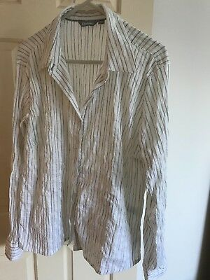 Rohan womens size 18 long sleeved white striped shirt, hidden security pocket