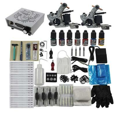 Complete Tattoo Kit 2 Coil Tattoo Machines 7 Color Ink Digital Power Supply Tool
