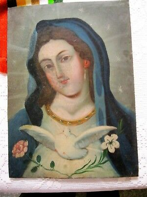 Original Antique Retablo On Tin With The Image Of Our Lady Of Peace Great Piece