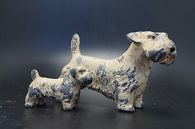 VTG Pair Painted Metal SEALYHAM TERRIER Dog Family Puppy Set LOT