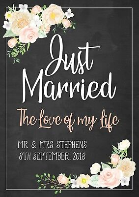 """1 x Just Married The Love of my Life - Rustic """"Chalkboard Lookalike"""" A2 poster"""