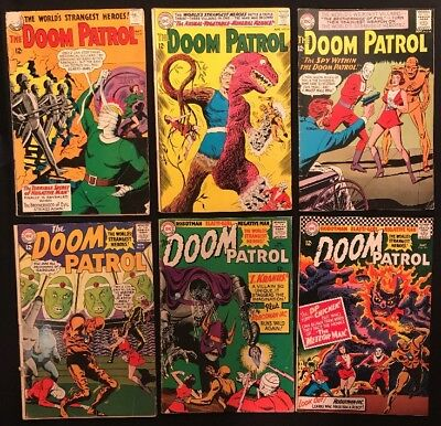 Doom Patrol Comic Lot #87, 89, 90, 91, 101, 103 -6 Books- Silver Age