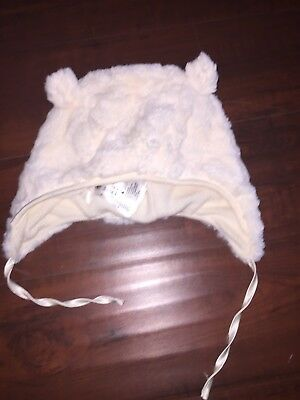 1f4a4798f46 H M Baby Unisex Soft Ivory Sheering Bear Hat with Ears and Neck Tie 12 - 18
