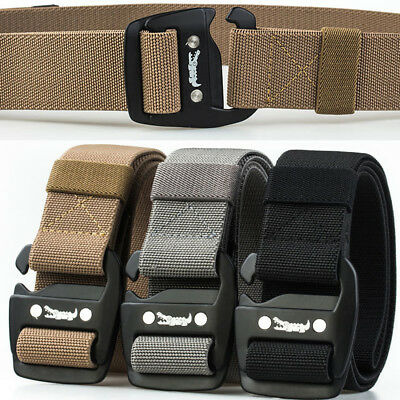 Mens Elasticated Belt Stretch Webbed Canvas Belts Outdoor Sports Waistband Strap