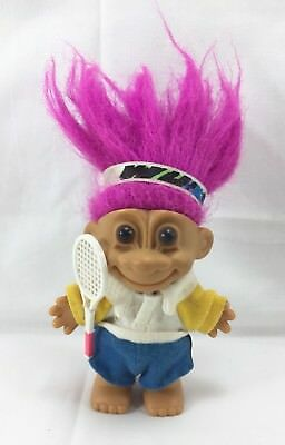 Vintage Russ Berrie My Lucky Tennis Player Troll Doll purple hair