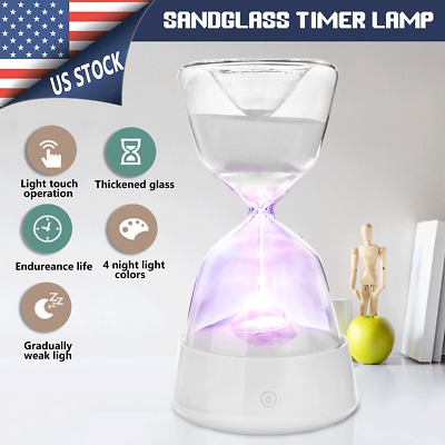 US Hourglass Sandglass Timer Sleeping Night Light LED Lamp Color Changed Gift
