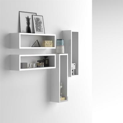 Mobili Fiver, Set of 4 wall-mounted cube shelves, Iacopo, Laminate-faced, Glossy