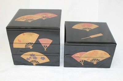 Rare Wajimanuri Japanese Lacquer Nest Of Boxes Five Tiers Maki-e Folding Fan