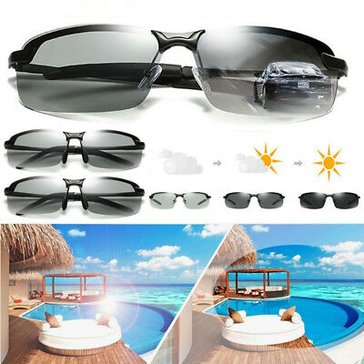 Polarized Photochromic Sunglasses Men UV400 Driving Transition Lens Glasses AU