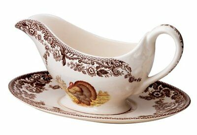 Spode Woodland Turkey Sauce Boat and Stand Earthenware Sepia Border New 1282041