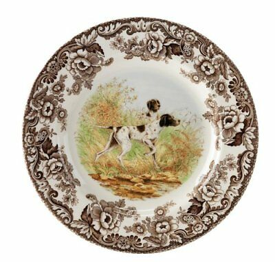 Spode Woodland Hunting Dogs Flat Coated Pointer Salad Plate Earthenware 1369599