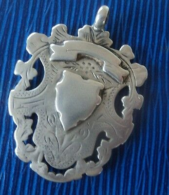 Edwardian Sterling Silver Fob Medal Pendant h/m 1907 Double Sided - not engraved