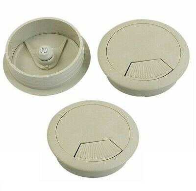 3Pcs 50mm Drill Hole Dia Desk Wire Cord Cable Grommets Cover Gray