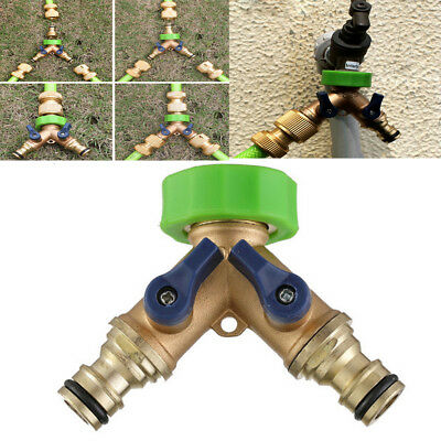 Metal Garden Hose Splitter 2-Way Y Shape Valve Tap Solid Brass Female Connector