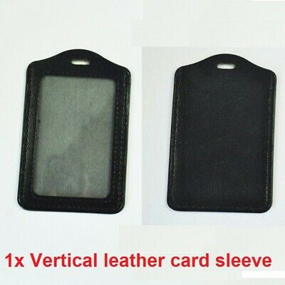 Vertical Leather Business Schol ID Badge Card Holder For Lanyard Neck Strap Band