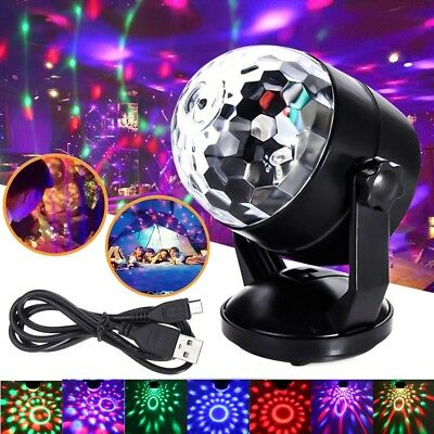 5-12V/Battery RGB DJ Disco Party Magic Crystal Ball LED Light Stage Lamp Sucker