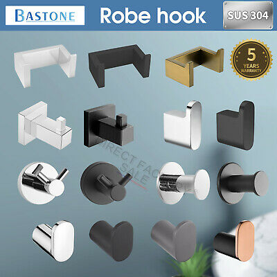 Single Double Chrome Black Wall Robe Hook Towel Rail Holder Hanger SUS Bathrooom