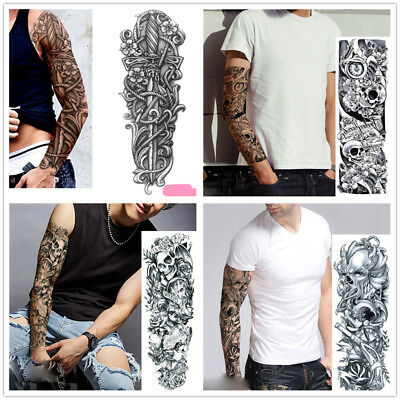 4 Sheets Temporary Tattoo Black Gothic Clock Fake Body Sticker Waterproof cckk
